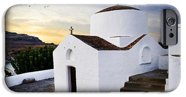 Rhodes iPhone Cases - Church in Lindos Rhodes iPhone Case by Jelena Jovanovic