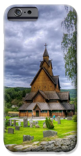 Headstones iPhone Cases - Church in Norway iPhone Case by Mountain Dreams
