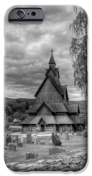 Headstones iPhone Cases - Church in Rural Norway iPhone Case by Mountain Dreams