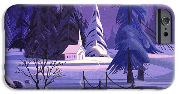 Michael Paintings iPhone Cases - Church In Snow iPhone Case by Michael Humphries