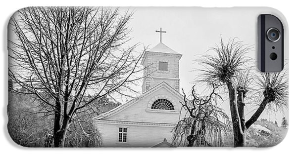 Mandal iPhone Cases - Church in the snow iPhone Case by Mirra Photography