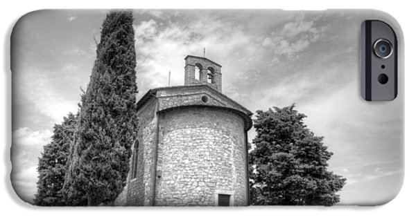 Fine Abstract Pyrography iPhone Cases - Church Madonna di Vitaleta in Tuscany Val dOrcia iPhone Case by Tommaso De Pilla