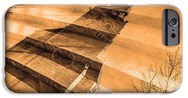 City Scape Mixed Media iPhone Cases - Church Mixed With Staircase iPhone Case by Toppart Sweden