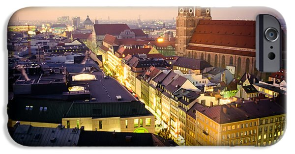 Marienplatz iPhone Cases - Church of our Dear Lady in Munich at dusk iPhone Case by Stephan Pietzko