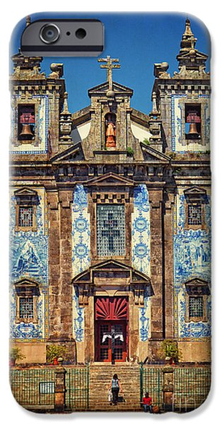 Wood Carving iPhone Cases - Church of Saint Ildefonso - Porto iPhone Case by Mary Machare
