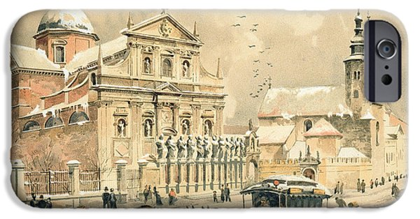 Snowy Drawings iPhone Cases - Church Of St Peter And Paul in Krakow iPhone Case by Stanislawa Kossaka