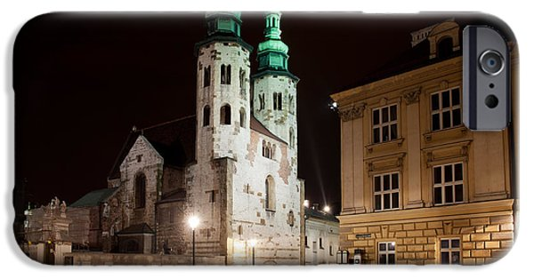 Polish Culture iPhone Cases - Church of St. Andrew at Night in Krakow iPhone Case by Artur Bogacki