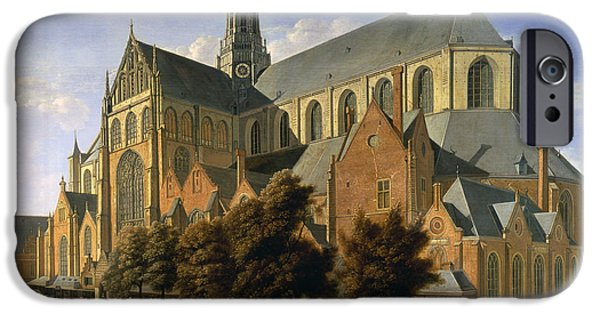 Harlem iPhone Cases - Church Of St. Bavo In Haarlem, 1666 Oil On Panel iPhone Case by Gerrit Adriaensz Berckheyde