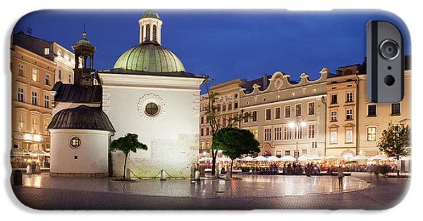 Historic Site iPhone Cases - Church of St. Wojciech in Krakow at Night iPhone Case by Artur Bogacki
