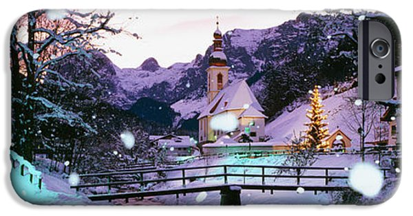 Connection iPhone Cases - Church On A Snow Covered Hill iPhone Case by Panoramic Images