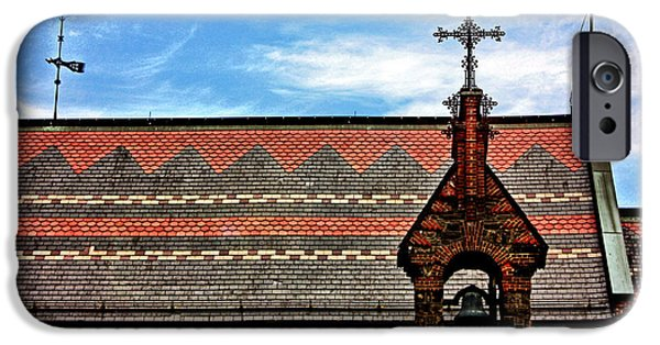 Photographs With Red. iPhone Cases - Church Roof with Cross iPhone Case by Nishanth Gopinathan