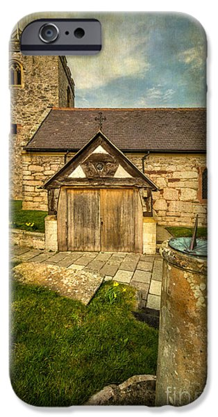 Walkway Digital Art iPhone Cases - Church Sundial 1806 iPhone Case by Adrian Evans