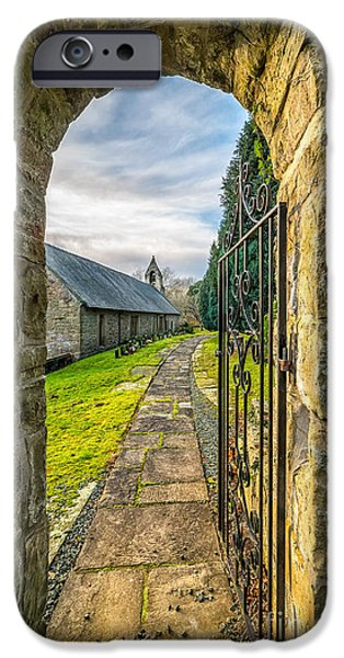 Walkway Digital iPhone Cases - Church Way iPhone Case by Adrian Evans