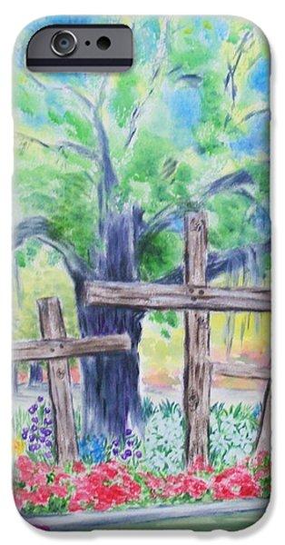 Garden Scene Paintings iPhone Cases - Church Yard Cross Scene iPhone Case by Melanie Palmer