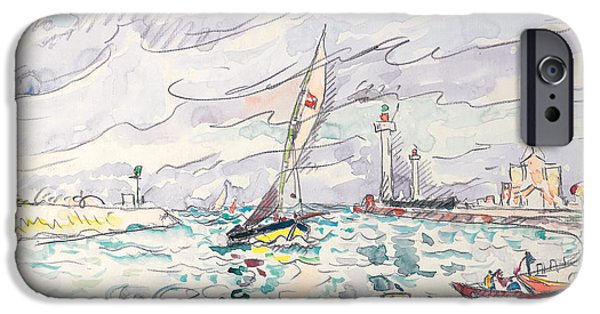 Harbor Drawings iPhone Cases - Ciboure iPhone Case by Paul Signac