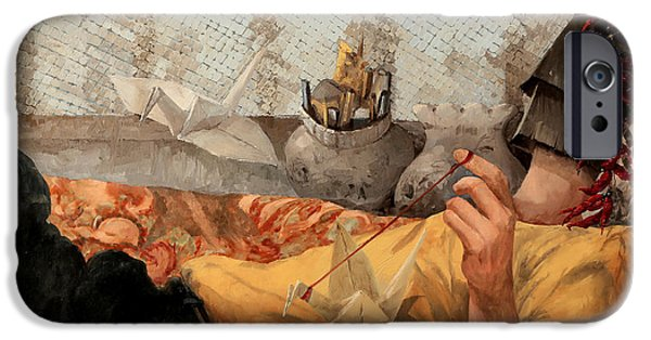 Bed Paintings iPhone Cases - Cicogna Da Passeggio iPhone Case by Guido Borelli