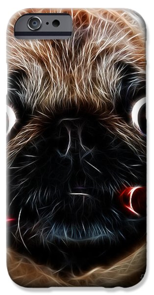 Pups Digital Art iPhone Cases - Cigar Puffing Pug - Electric Art iPhone Case by Wingsdomain Art and Photography