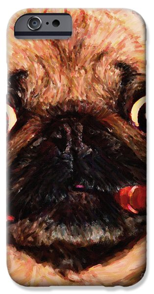 Puppy Digital Art iPhone Cases - Cigar Puffing Pug - Painterly iPhone Case by Wingsdomain Art and Photography