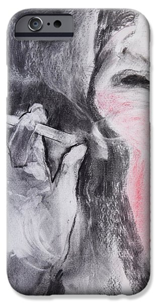 White Pastels iPhone Cases - Cigarette One iPhone Case by Janet Goddard