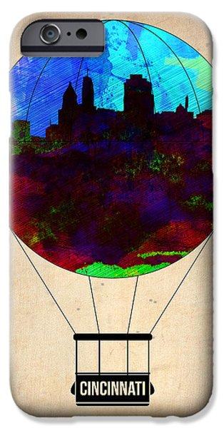 Town iPhone Cases - Cincinnati Air Baloon iPhone Case by Naxart Studio