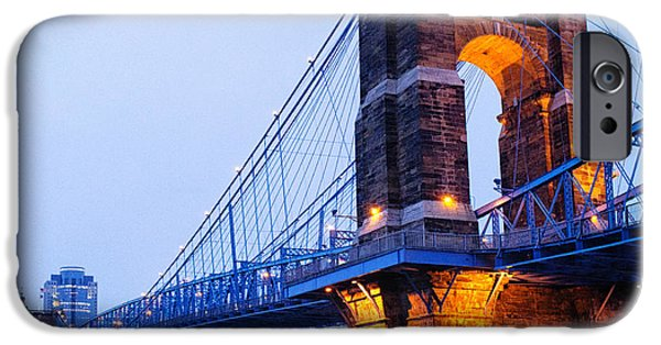 Covington iPhone Cases - Cincinnati and Robeling Suspension Bridge at Twilight iPhone Case by Tanya Harrison