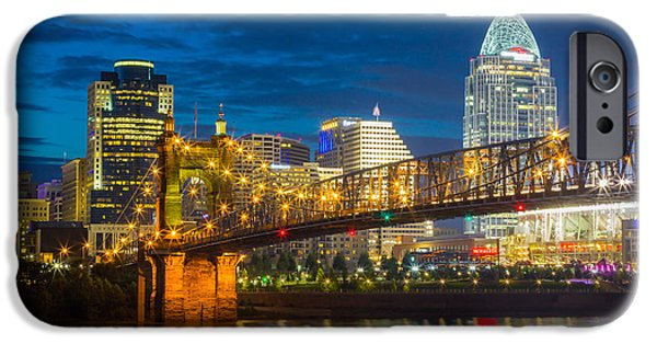 Reflective iPhone Cases - Cincinnati Downtown iPhone Case by Inge Johnsson