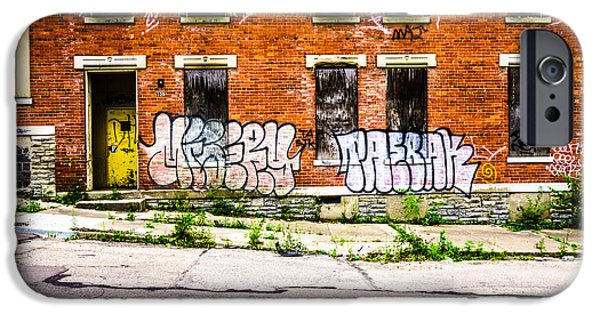 Boarded Up iPhone Cases - Cincinnati Glencoe Auburn Place Graffiti Photo iPhone Case by Paul Velgos