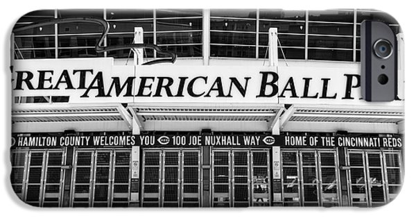 Venue iPhone Cases - Cincinnati Great American Ball Park Black and White Picture iPhone Case by Paul Velgos