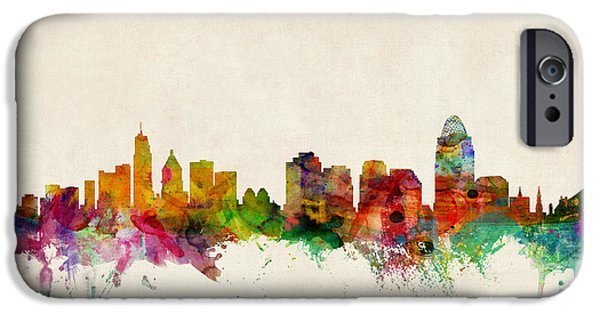 United iPhone Cases - Cincinnati Ohio Skyline iPhone Case by Michael Tompsett