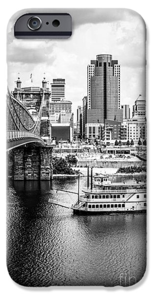 2012 iPhone Cases - Cincinnati Riverfront Black and White Picture iPhone Case by Paul Velgos
