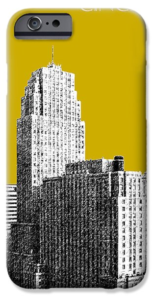 Pen And Ink iPhone Cases - Cincinnati Skyline 2 - Gold iPhone Case by DB Artist