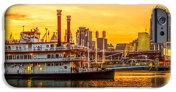 Steamboat iPhone Cases - Cincinnati Skyline and Riverboat Panorama Photo iPhone Case by Paul Velgos