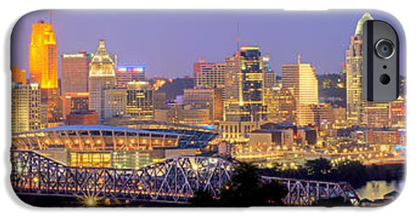 City Scene iPhone Cases - Cincinnati Skyline at Dusk Sunset Color Panorama Ohio iPhone Case by Jon Holiday