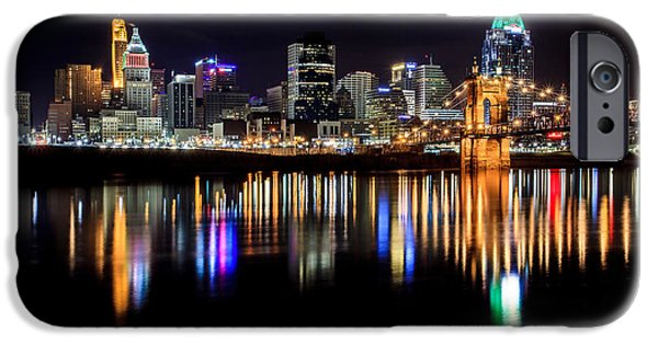 Christmas Photographs iPhone Cases - Cincinnati Skyline in Christmas colors iPhone Case by Keith Allen
