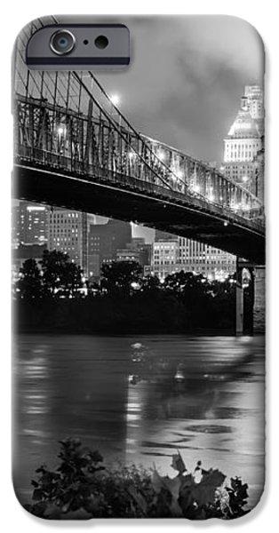 Cincinnati Skyline - John Roebling Bridge and Ohio River iPhone Case by Gregory Ballos