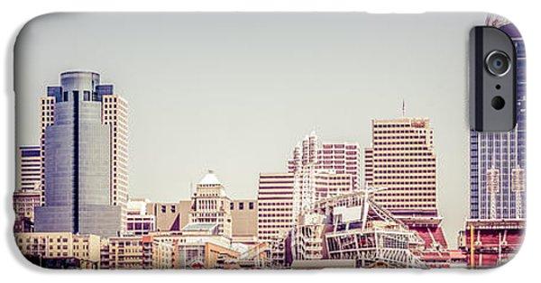 Ballpark iPhone Cases - Cincinnati Skyline Retro Panorama Picture iPhone Case by Paul Velgos