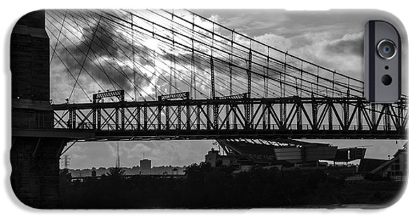 A Summer Evening Landscape iPhone Cases - Cincinnati Suspension Bridge Black and White iPhone Case by Mary Carol Story