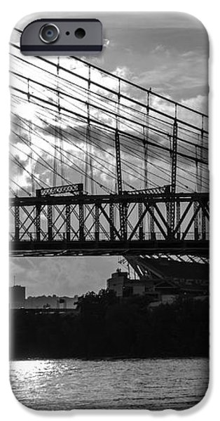 Cincinnati Suspension Bridge Black and White iPhone Case by Mary Carol Story