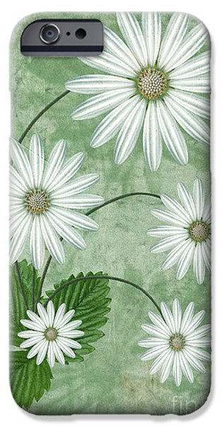 Abstract Flowers iPhone Cases - Cinco iPhone Case by John Edwards
