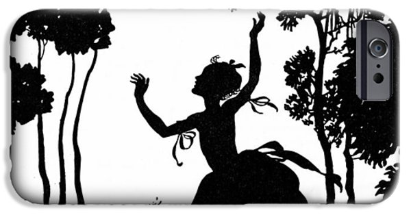 Joyful Drawings iPhone Cases - Cinderella Playing with her Dogs iPhone Case by Arthur Rackham