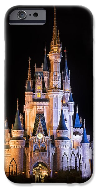 Amusements iPhone Cases - Cinderellas Castle in Magic Kingdom iPhone Case by Adam Romanowicz