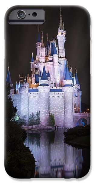 Magic Kingdom iPhone Cases - Cinderellas Castle Reflection iPhone Case by Adam Romanowicz