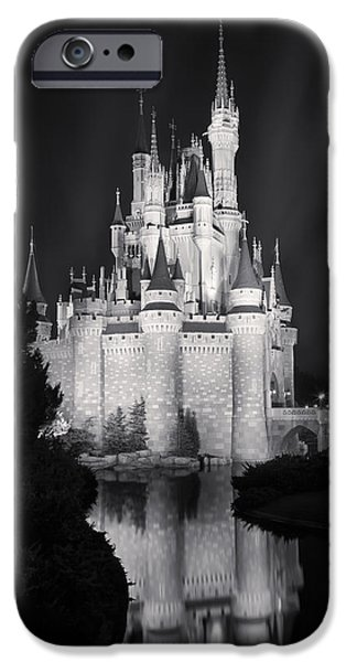 Amusements iPhone Cases - Cinderellas Castle Reflection Black and White iPhone Case by Adam Romanowicz