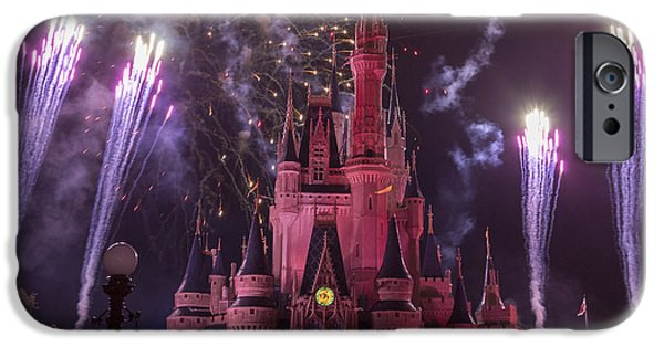 Magic Kingdom iPhone Cases - Cinderellas Castle with Fireworks iPhone Case by Adam Romanowicz