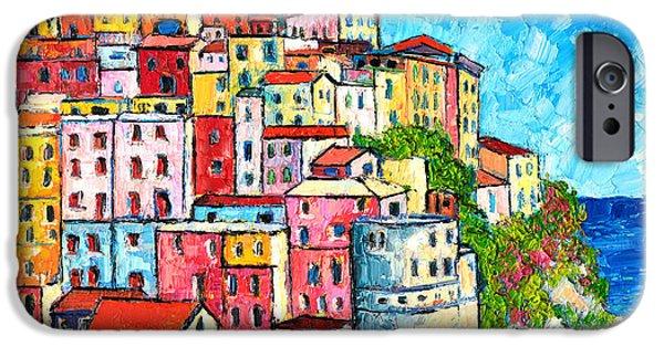 Village iPhone Cases - Cinque Terre Italy Manarola Colorful Houses  iPhone Case by Ana Maria Edulescu