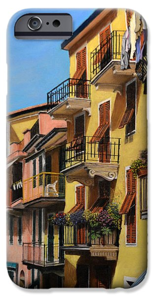 Balcony Pastels iPhone Cases - Cinque Terre iPhone Case by Joanne Grant