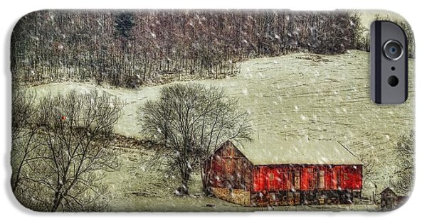 Red Barn In Winter iPhone Cases - Circa 1855 iPhone Case by Lois Bryan