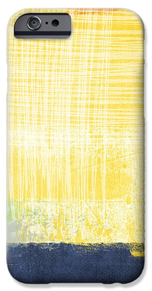 Yellow And Grey Abstract Art iPhone Cases - Circadian iPhone Case by Linda Woods