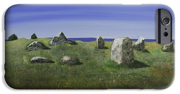 Vikings Paintings iPhone Cases - Ancient Circle of Stones  iPhone Case by Victoria Stavish