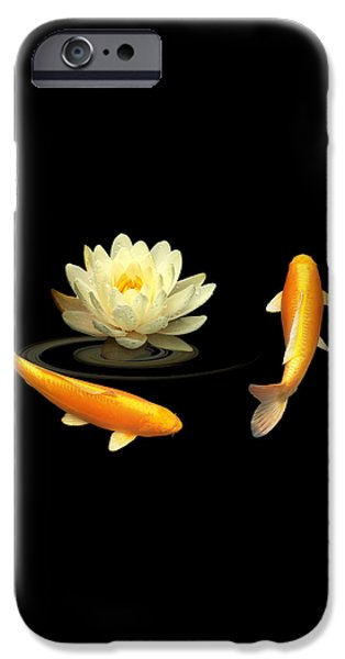 Circle Of Life - Koi Carp With Water Lily iPhone Case by Gill Billington
